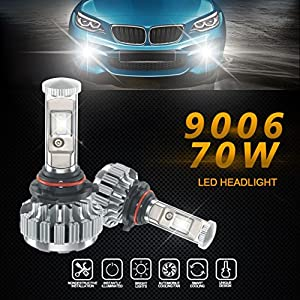 Car LED Strip Light, Leedford 12000LM 80W 9006 LED Lamp Headlight Kit Car LED Interior Underdash Lighting Kit Beam Bulbs 6000k White Canbus