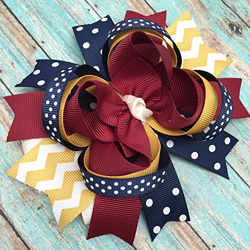 Mustard Yellow Maroon Burgundy Ivory Navy Hair Bow, Fall Thanksgiving Mustard Maroon Navy Ivory hair bow by BETHLAND BOUTIQUE