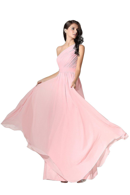 Engerla Women's One-shoulder Fold Lace-up A-Line Floor Length Plain Chiffon Bridesmaid Dress