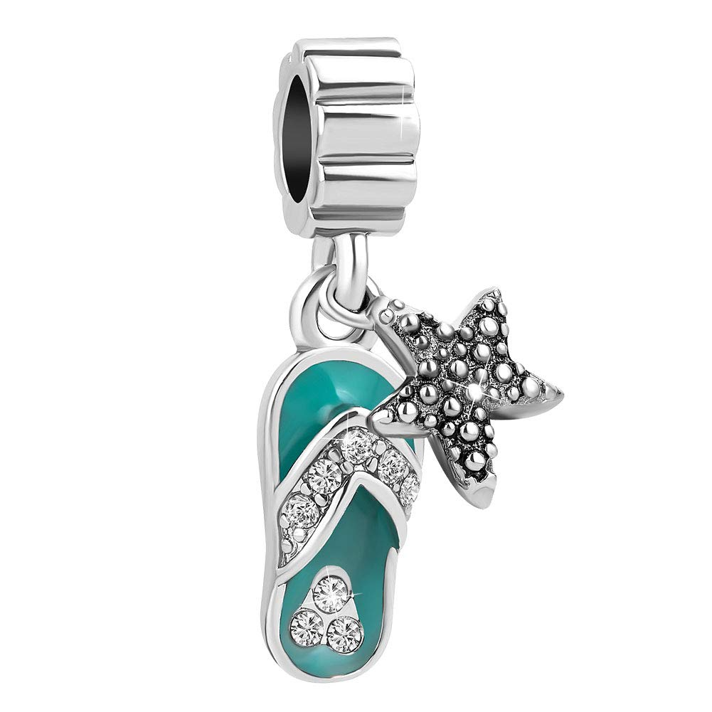 Sug Jasmin Charms Pantoufles de Plage avec Perles d/étoile de mer pour Bracelets /à Breloques europ/éens