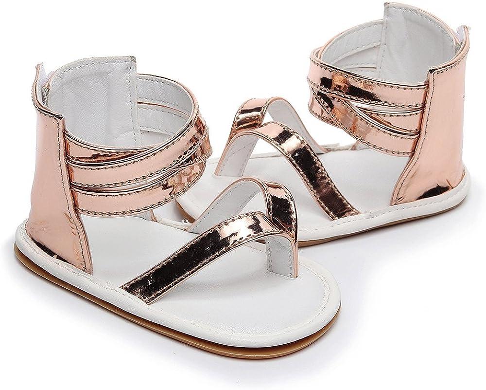 Kids Sandals Jifutan Summer Infant Baby Girls Hollow Leather Cross Strap Rubber Sole Crib Beach Shoes