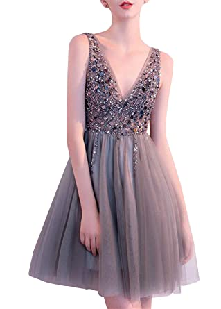 DYS Womens Tulle Deep V Neck Prom Dress with Side Split Open Back Beaded Dress 2