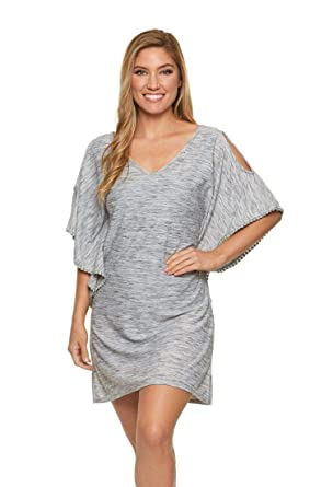 4adc44c5180 Dotti Women s Wovens Pom-Pom Trim Cold Shoulder Tunic Swim Cover Up at Amazon  Women s Clothing store
