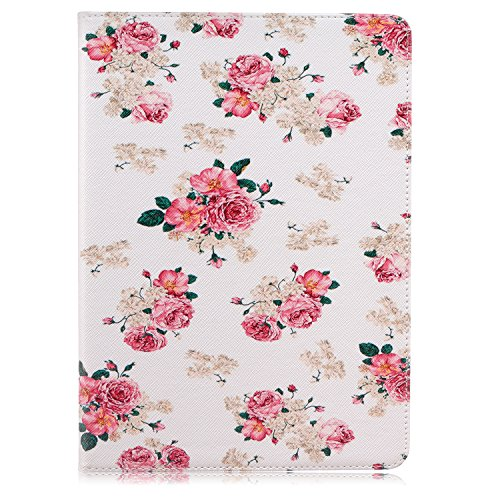 iPad Pro 9.7 Case, Speedup Premium Style PU Leather Wallet Flip Folio Protective Case with Foldable Stand Feature Built-in Cards Holder Cash Pocket Closure for Apple iPad Pro 9.7-inch (Peony)