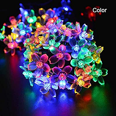 DINHAND LED Flowers Decoration Outdoor Waterproof 23ft 50 Fairy String Blossom String Lights for Weddings, Party, Outdoor Wall, Home, Kitchen, Window Decorations,Christmas,Patio,Fence,Outside,Holiday