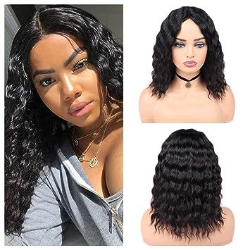 ace74e45d59f Amazon.com   Quantum Love 100% Lace Part Virgin Human Hair Wigs Loose Deep  Wave Wig Middle Part Brazilian Human Hair Wave Glueless Wig Natural Color    ...