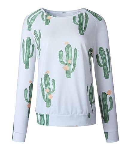 Kerlana Blusas Mujer Manga Larga Camisa Casual Blusa Deportivo Tops Cuello Redondo Floral Camiseta Joven
