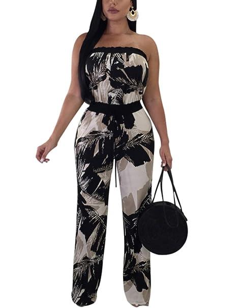 4d33792765d4 Amazon.com  violet lover Women Sexy Off Shoulder Floral Wide Leg Jumpsuit  Romper Palazzo Long Pants Set  Clothing