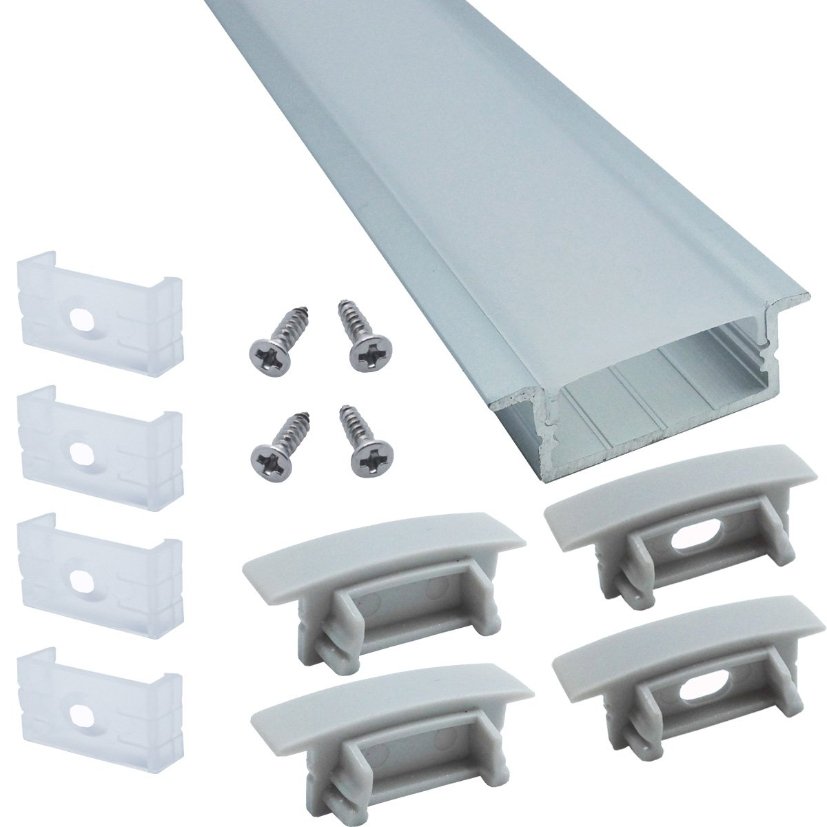 Litever 6-Pack 1M/3.3ft Wide Recess Embeded Aluminum LED Channels with Oyster Diffuser Covers End Caps Mounting Clips for Max 18mm Wide LED Strip Mouning -LL-007-WR-[6 Pack] by Litever