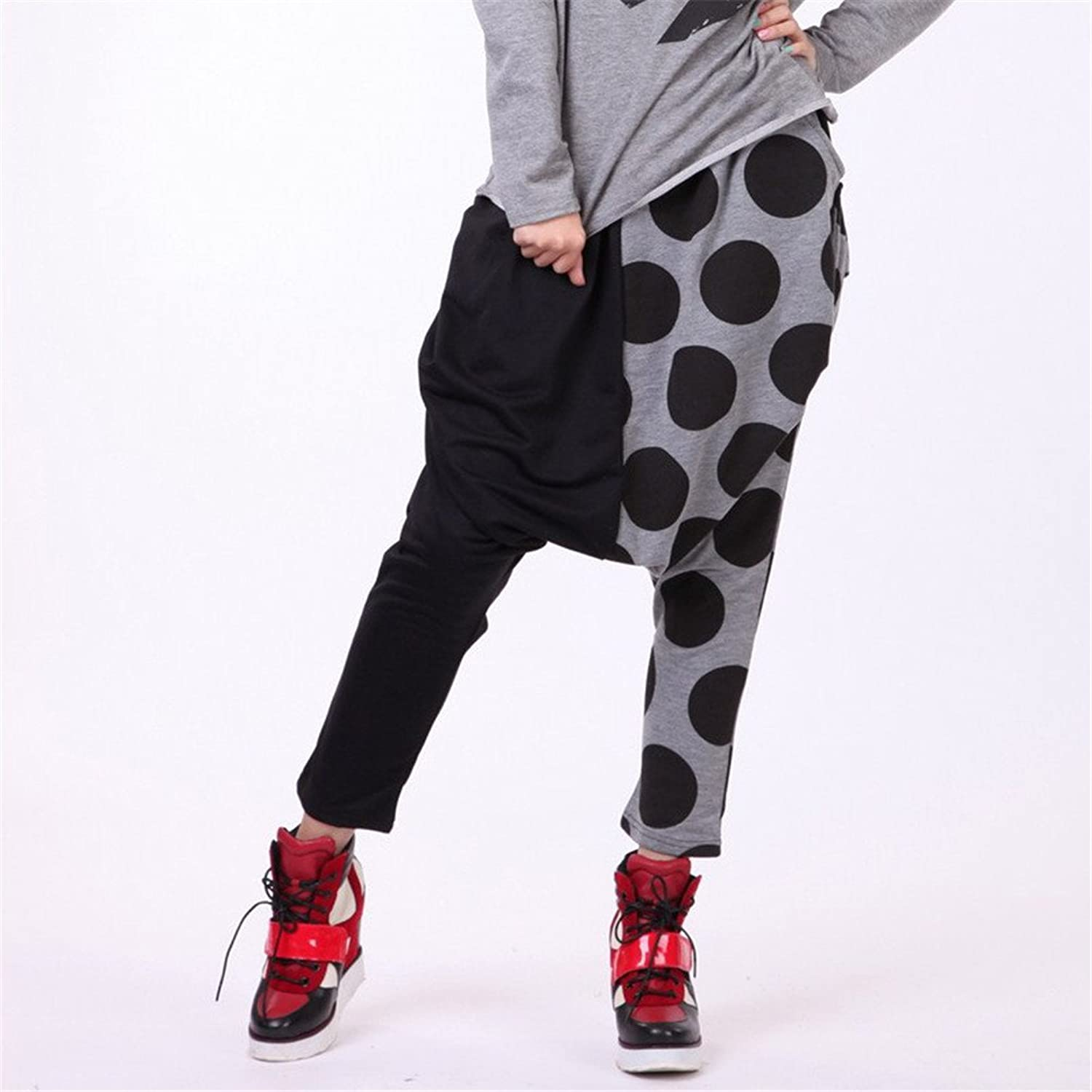 Unisex Baggy Hip-hop Harem Hippie Dots Stitching Pants Trouser Dance Pants
