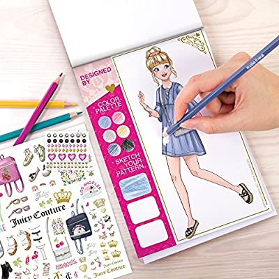 Make It Real - Juicy Couture Fashion Design Set. Inspirational Fashion Design Coloring Book for Girls. Includes Sketchbook, Colored Pencils, Stencils, Rhinestone Stickers, and Fashion Design Guide: Toys & Games