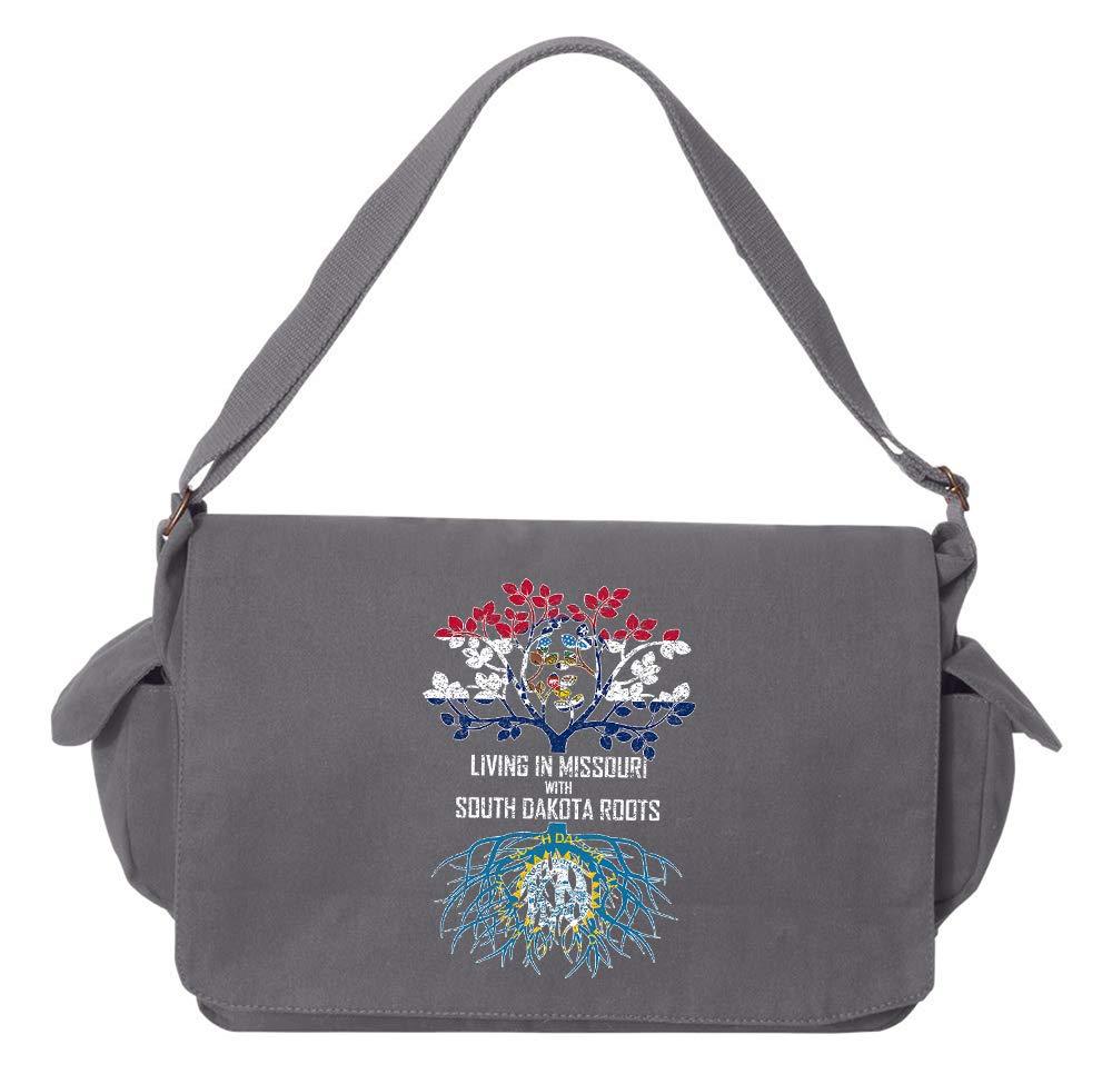 Tenacitee Living In Missouri with South Dakota Roots Grey Brushed Canvas Messenger Bag