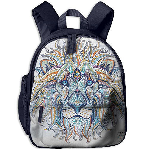 Kids Lion Tamer Costumes (Lion Printed Kids School Backpack Cool Children Bookbag Navy)