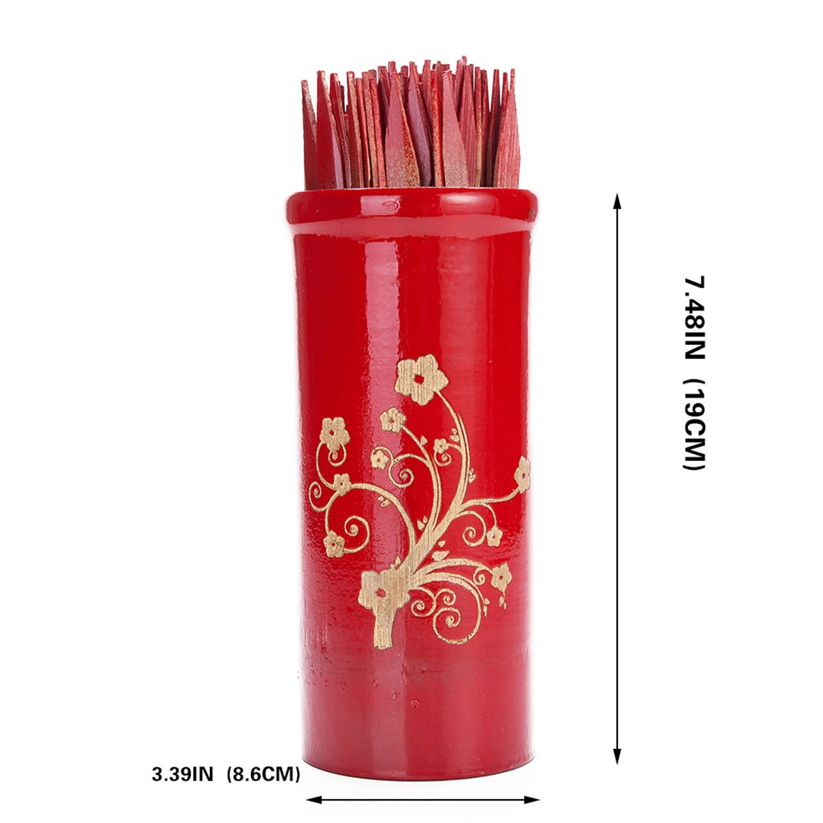 Chinese Fortune Telling Sticks W. Instruction Booklet Red Bamboo Cansiter Golden Fortune Floral Design