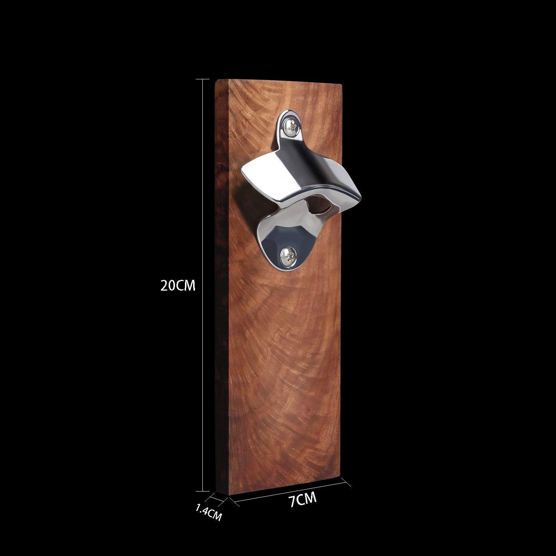 impugnatura in legno duro Apribottiglie da Parete DECAP apribottiglie in faggio con nastro biadesivo o magnete apribottiglie da muro Apribottiglie a bottone di birra