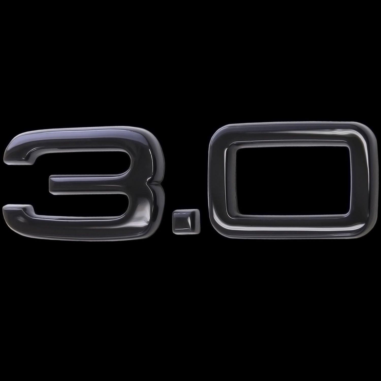 Adesivo 3d lucida nero emblema Logo 3.0/3,0/litri di cilindrata Tuning Sport L132