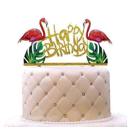 Phenomenal Gold Flamingos Happy Birthday Cake Topper Acrylic Cake Topper Funny Birthday Cards Online Bapapcheapnameinfo