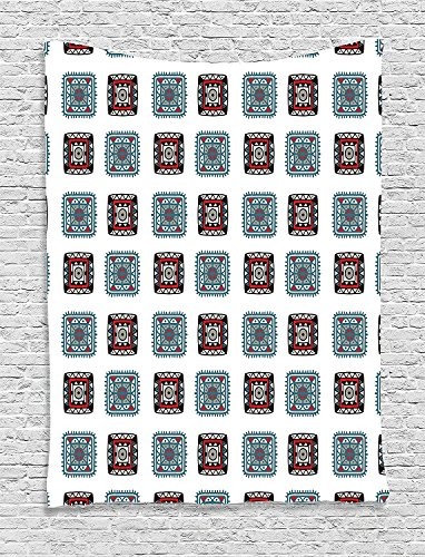 asddcdfdd Batik Decor Tapestry, Geometric Square Shaped Lines Aztec Tribal Forms with Ethnic Detail Folk Batik Image, Wall Hanging for Bedroom Living Room Dorm, 60 W x 80 L Inches, Multi -