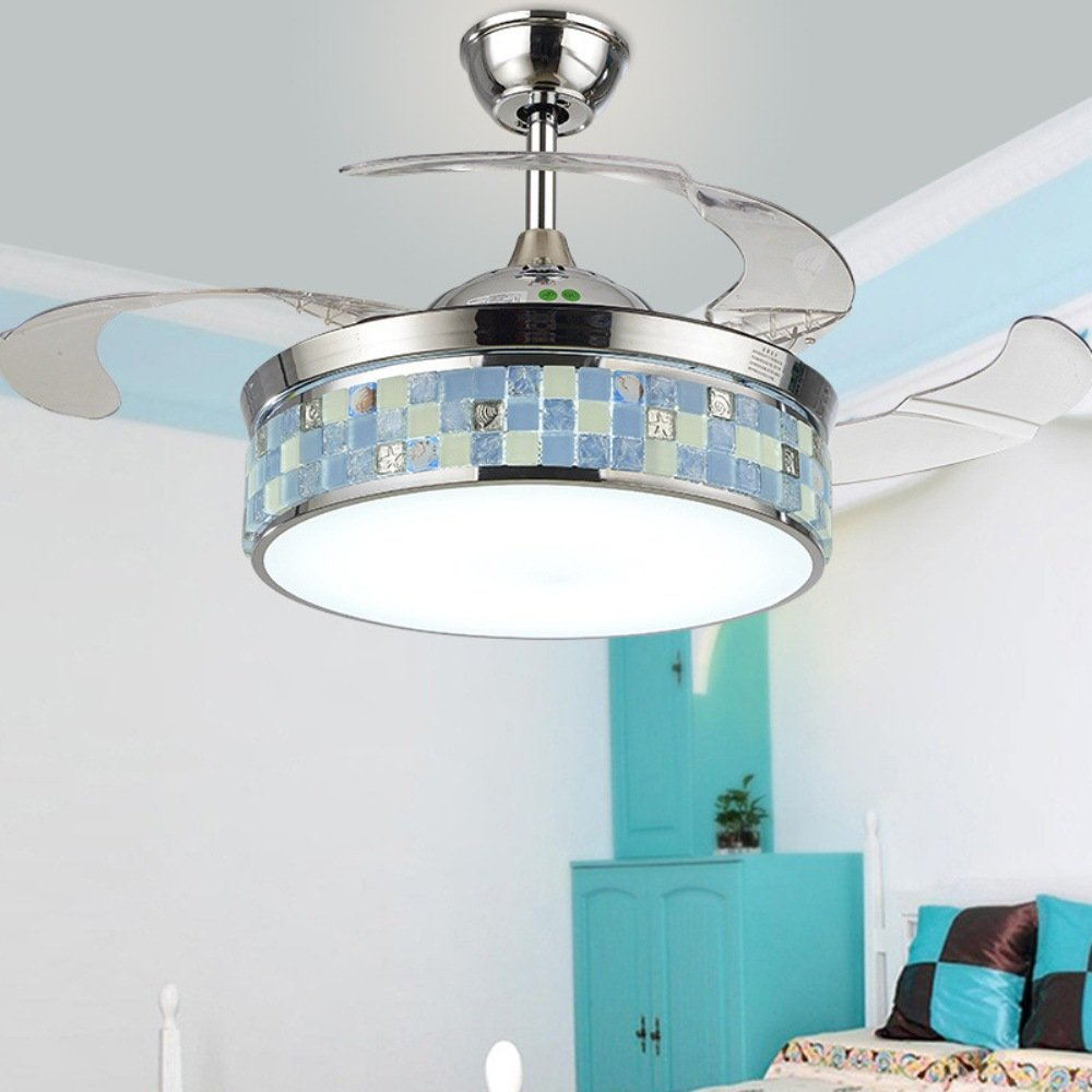 RS Lighting LED Invisible Ceiling Fan Bedroom Mediterranean Living Room Fan Chandelier Study Children Room Light (Blue)