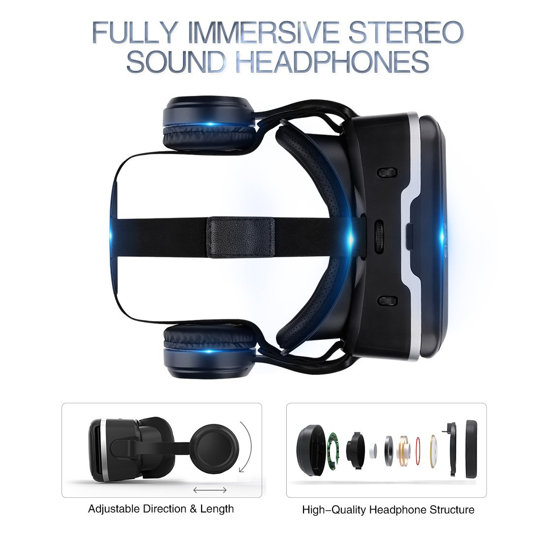 VR Headset with Remote Controller Immersive 3D VR Glasses Virtual Reality Headsetwith Stereo Headphone and Adjustable Headstrap for 3D Movies & VR Games, Fit for 4.7-6.0 inch IOS/Android Smartphone by EXCLEAD (Image #3)