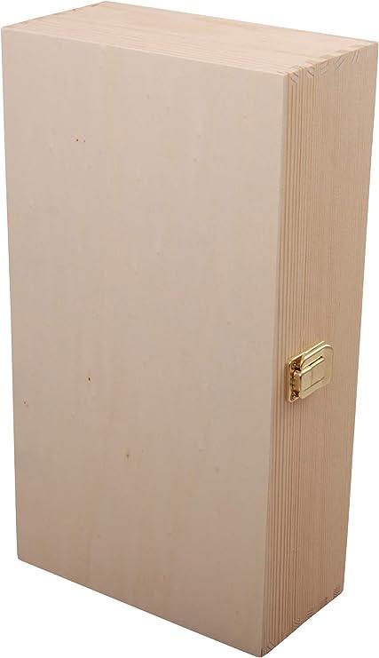 Myboxes - Caja de madera natural con cierre de hebilla, también se puede utilizar como caja de vino: Amazon.es: Juguetes y juegos
