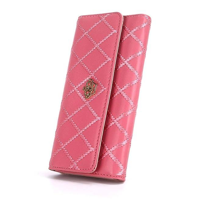 Amazon.com: Monedero largo de piel para mujer, con diseño de ...