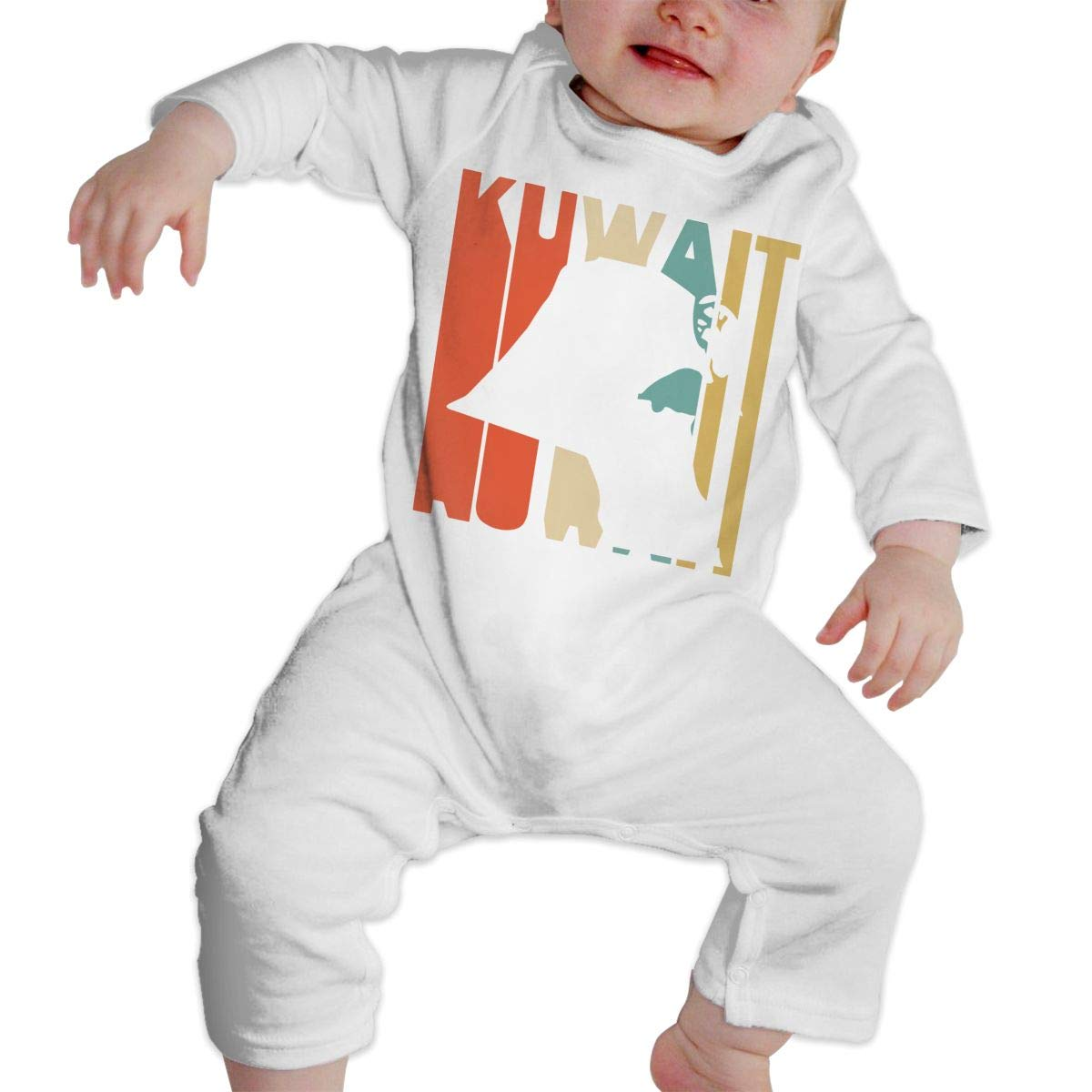 Infant Baby Boys Girls Cotton Long Sleeve Retro Style Kuwait Silhouette Romper Bodysuit One-Piece Romper Clothes