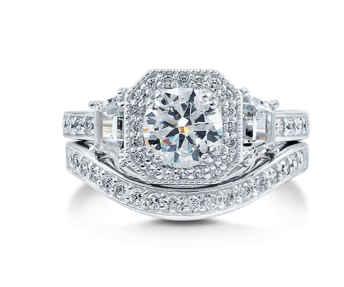 Ginger Lyne Collection Juliana Engagement Wedding Band Ring Set (5)