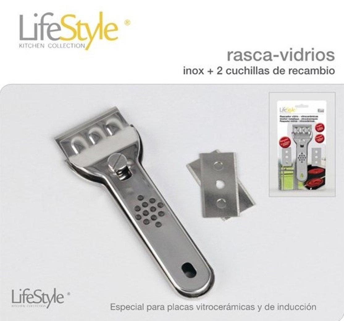 Life Style - Raspador de Vidrios - Especial para Vitro-Cerámicas y Placas de Inducción- Acero Inoxidable - 3 Cuchillas dobles - Plata