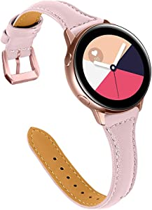 Joyozy Woman Girls Leather Band Compatible with Galaxy Watch Active/2(40mm), (44mm), 20mm Slim Leather Wristband Strap for Galaxy Watch 42mm/Gear S4/Gear S2 Classic SM-R732/735(Pink)