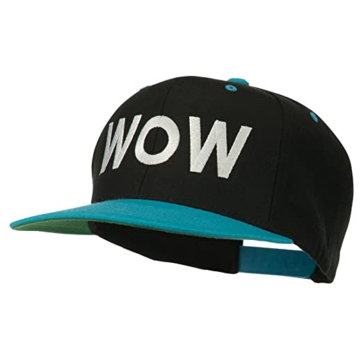 E4hats Wow Embroidered Snapback Cap - Black Teal OSFM at Amazon ... 5ce6038abf9