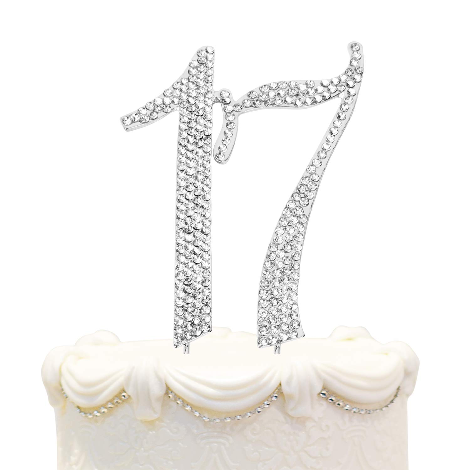 Hatcher Lee Bling Crystal Rhinestone 17 Birthday Cake Topper