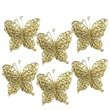 Fheaven 6Pcs Glitter Butterfly Christmas Hanging Ornaments Xmas Tree Ornaments Party Supplies (God)