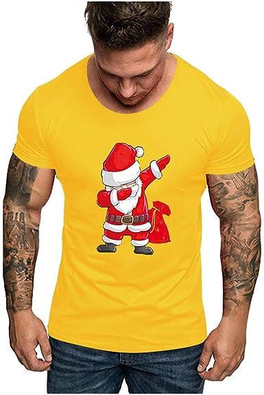 LANSKIRT Camiseta Navidad Hombre Camisetas Manga Corta Camisas Casual con Estampados Santa Claus Tops de Fiesta Diario Camisa Básica Polos Top Shirt Informal Tallas Grandes 3XL: Amazon.es: Ropa y accesorios