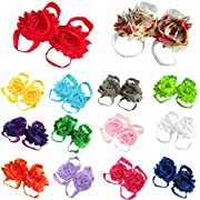 Lisli 5pairs/10pcs Newborn Baby Girl's Kids Flowers Foot Band Ties Barefoot Sandals Shoes
