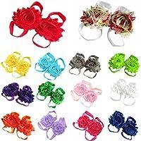 Lisli 5pairs/10pcs Newborn Baby Girl's Kids Flowers Foot Band Ties Barefoot S...
