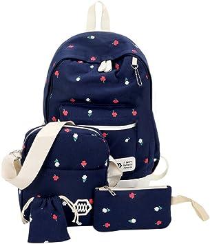 Fashion Women Canvas Bag Girls Backpack Travel Schoolbag Middle School Student N