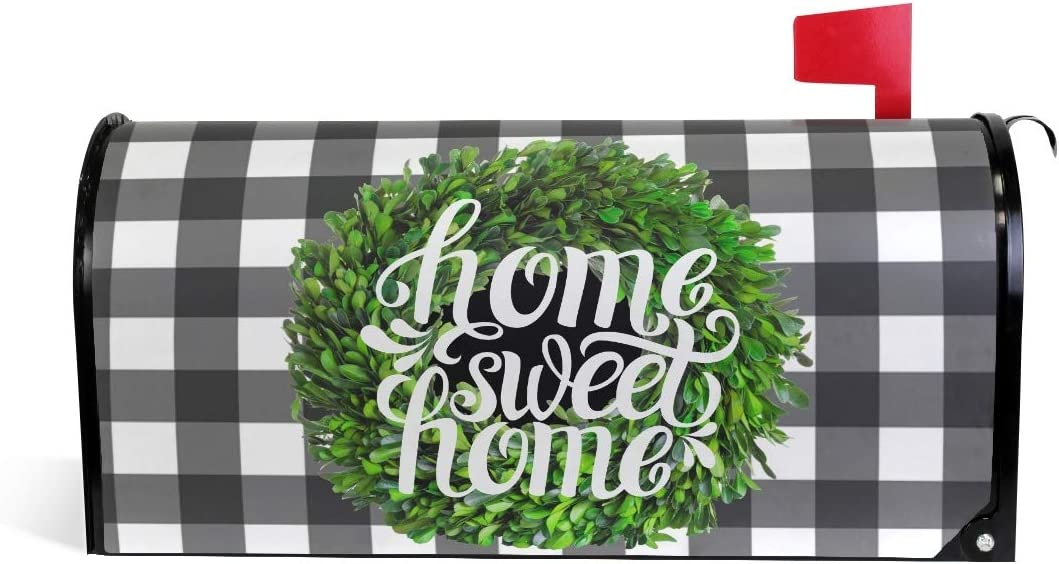 Kcldeci Boxwood Wreath Magnetic Mailbox Cover MailWraps Buffalo Check Plaid Home Sweet Home Rustic Farmhouse Mailbox Covers Wraps Post Box Cover Standard Size 21x18 Mailwrap Garden Home Decor