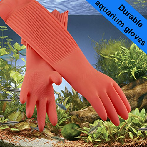 Wallko's pet store Aquarium Gloves for Fish Tank Maintenance – 22 inch long Rubber Gloves keep your Hands and Arms Dry. Prevents Contamination, Allergies, Cuts during Aqua Maintenance. Medium sized.