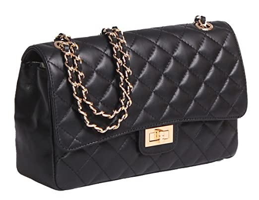 Italian Leather Quilted Designer Inspired Handbag with Gold Trims ...