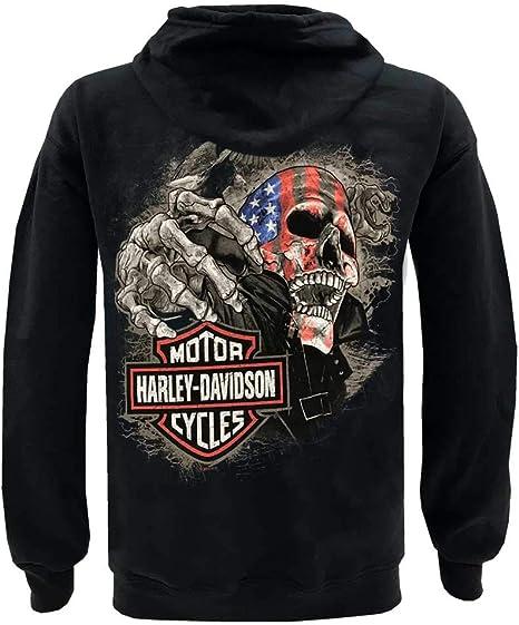 Black Harley-Davidson Men/'s Distressed Striker Zip-Up Poly-Blend Fleece Hoodie