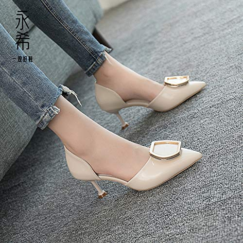 With Buckle Shoes Female Fine Leather Small Professional Creamy Patent Metal Women'S High Shoes High Fresh heels White Female Heels Yukun Pointed cP7qYwO7E
