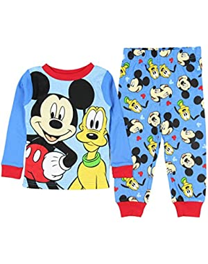 Mickey Mouse And Pluto Little Boys' Toddler Cotton Pajama Set