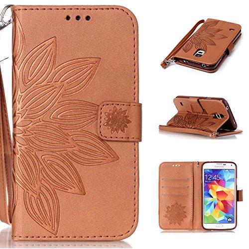PU Carcasa de silicona teléfono móvil Painted PC Case Cover Carcasa Funda De Piel Caso de Shell cubierta para smartphone (Samsung Galaxy S5Mini (4,5pulgadas) + Polvo Conector marrón 13 14