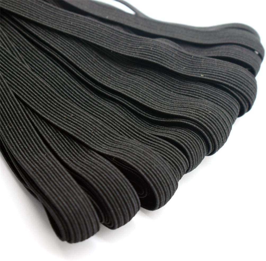 LANWF 20 Meters Elastic Cord,Flat Stretchy Knit Band Clothing Sewing Accessories,Black,Width 0.3cm