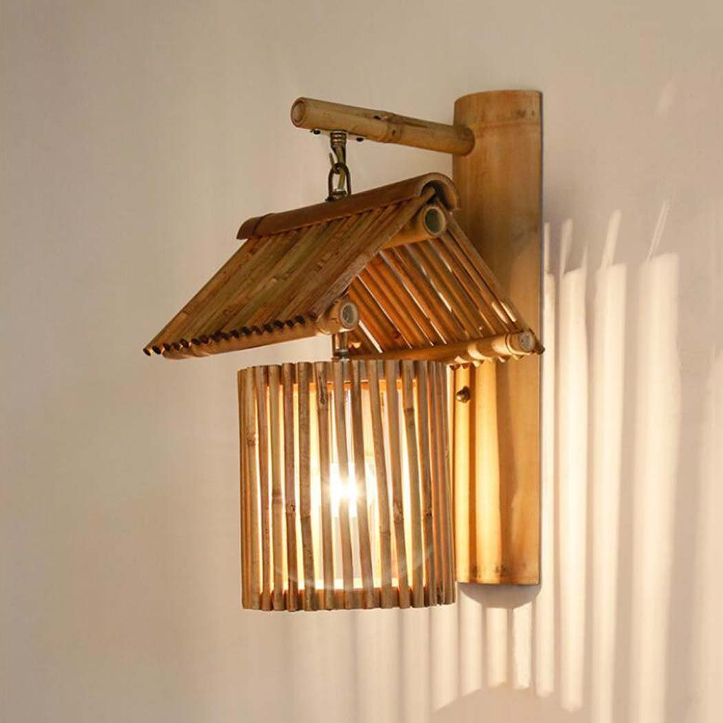 アンティークウォールランプ、東南アジア手作りの竹製の壁ランプ、創造的な人格のカフェファームハウス装飾的な壁ライトE27(光源なし) (色 : B) B07DGCS8K8 13762 B B