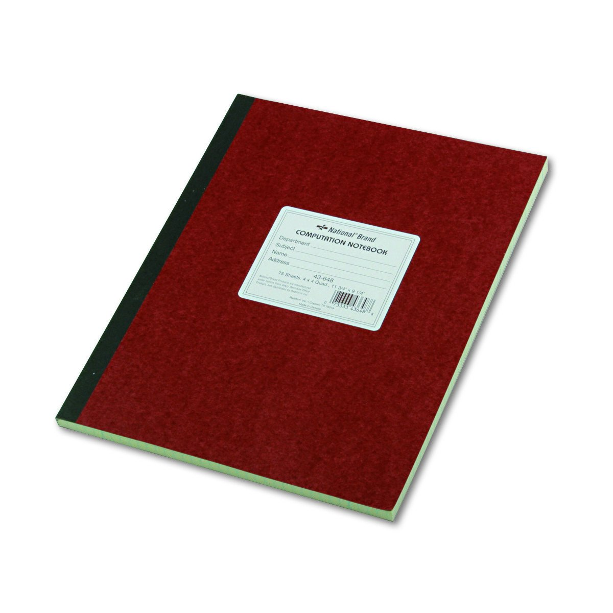 National Brand Computation Notebook, 4 X 4 Quad, Brown, Green Paper, 11.75 x 9.25 Inches, 75 Sheets (43648) by National Brand