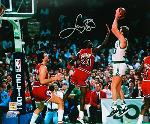 Larry Bird Signed Boston Celtics Shooting Over Michael Jordan 16x20 ()