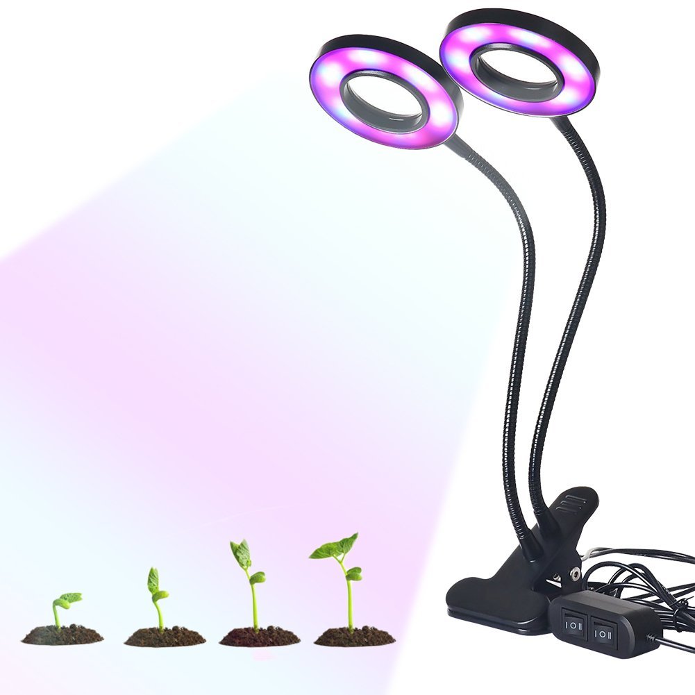 Oshide Dual Head Led Grow Lights 24W Dimmable 2 Levels Plant Grow Lamp Lights Bulbs with Adjustable Flexible 360 Degree Gooseneck for Indoor Garden Greenhouse, Plant Growing(24W)