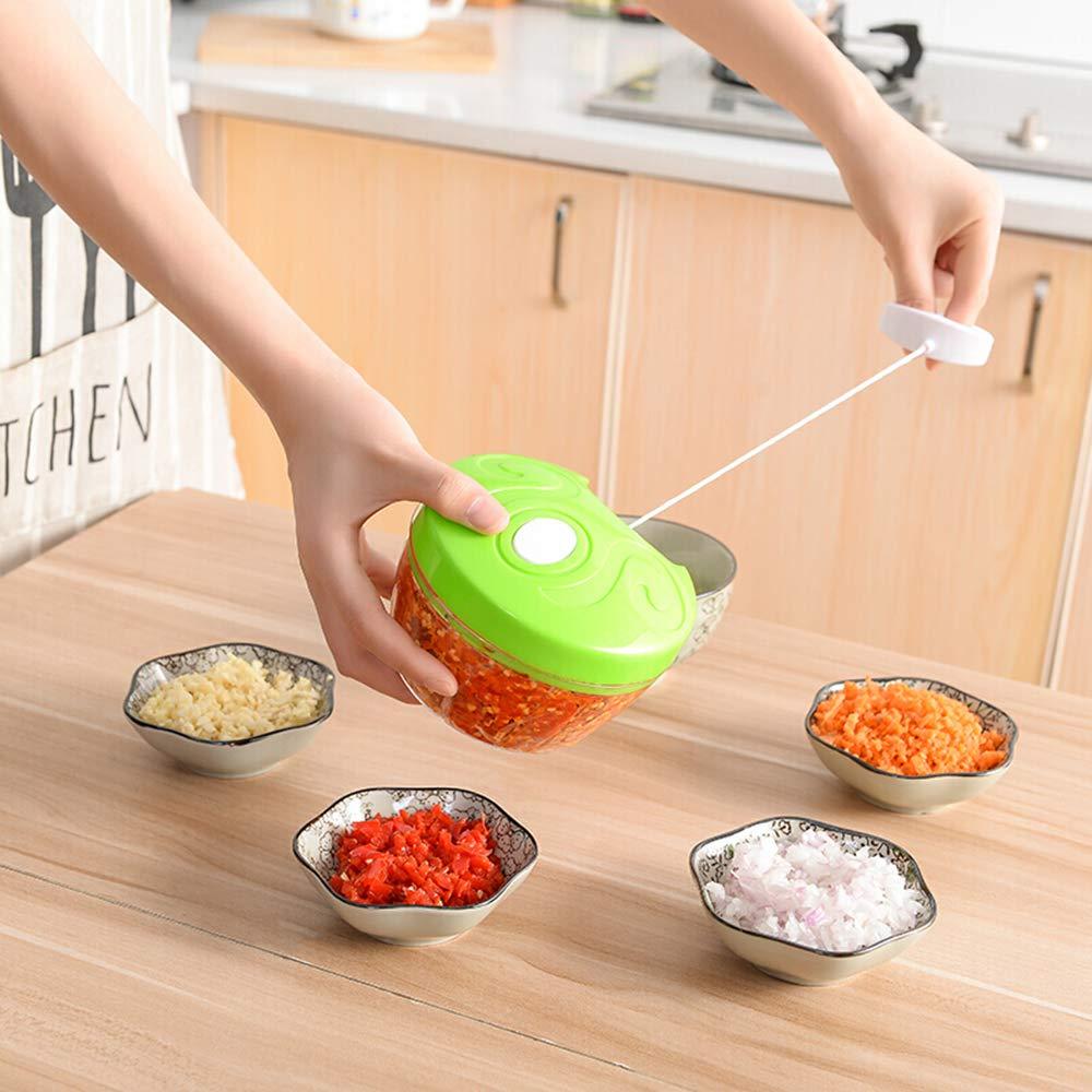 Ogquaton 1 UNIDS Manual de Alimentos Fruta Vegetal Chopper Cortador Blender Multifunci/ón Procesador de Alimentos Mincer Mezclador Gadget de Cocina Verde